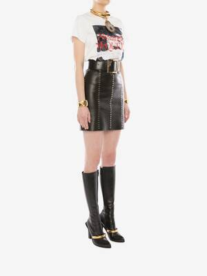 Stapled Leather Mini Skirt